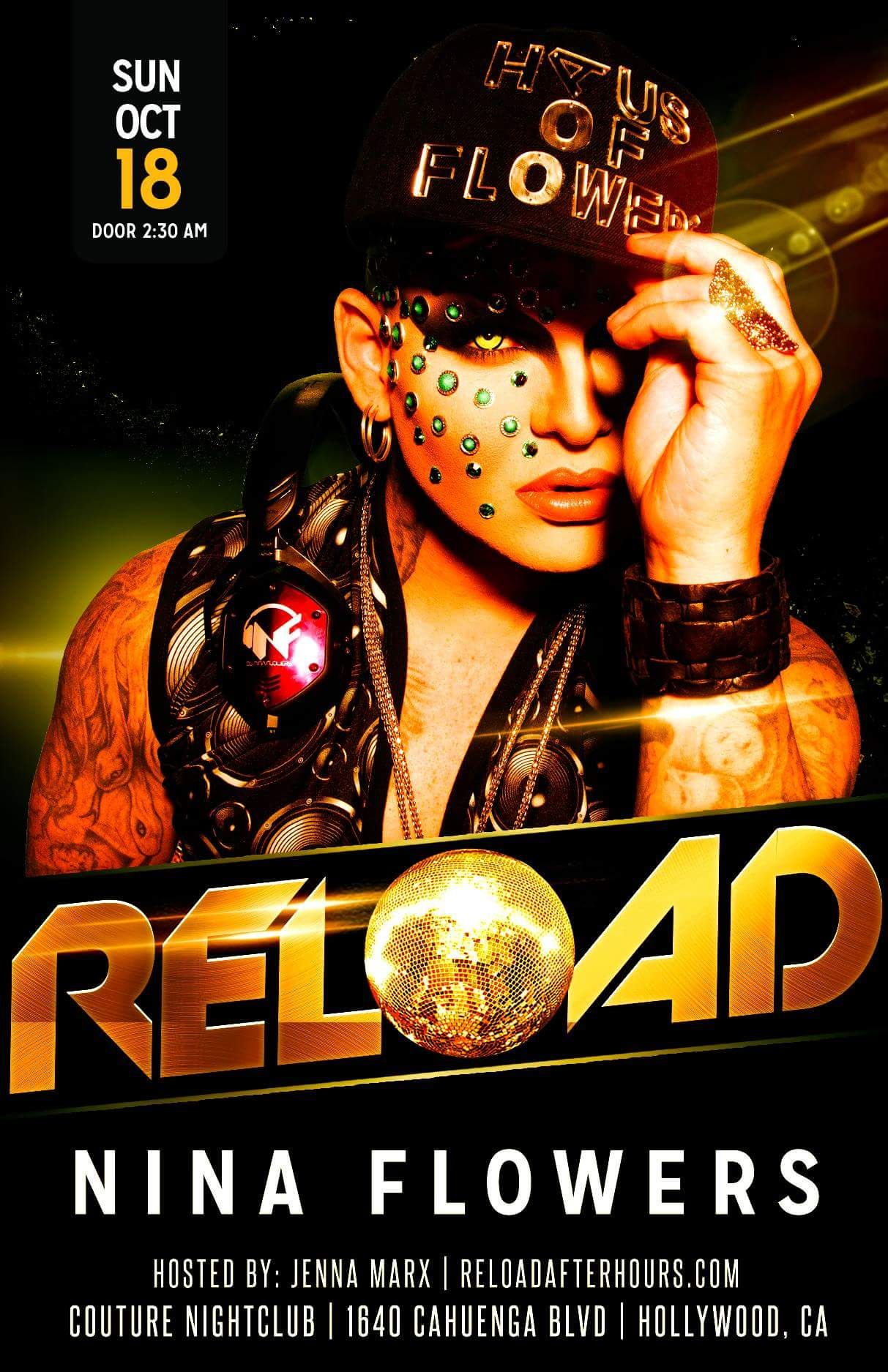 DJ Nina Flowers Spinning Couture Night Club for RELOAD Los Angeles CA Oc