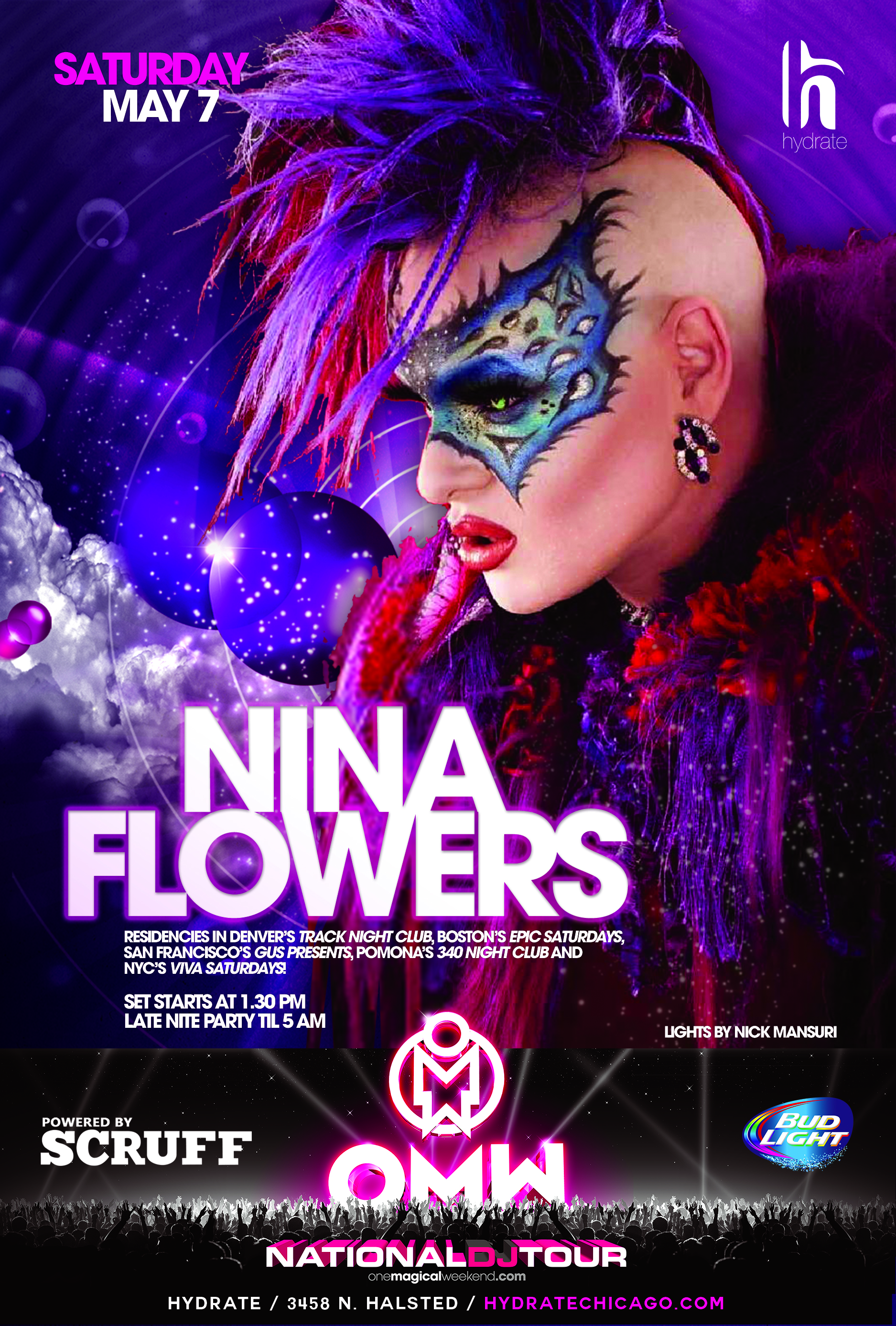 DJ Nina Flowers spinning HYDRATE Night Club Chicago IL May 7 2016